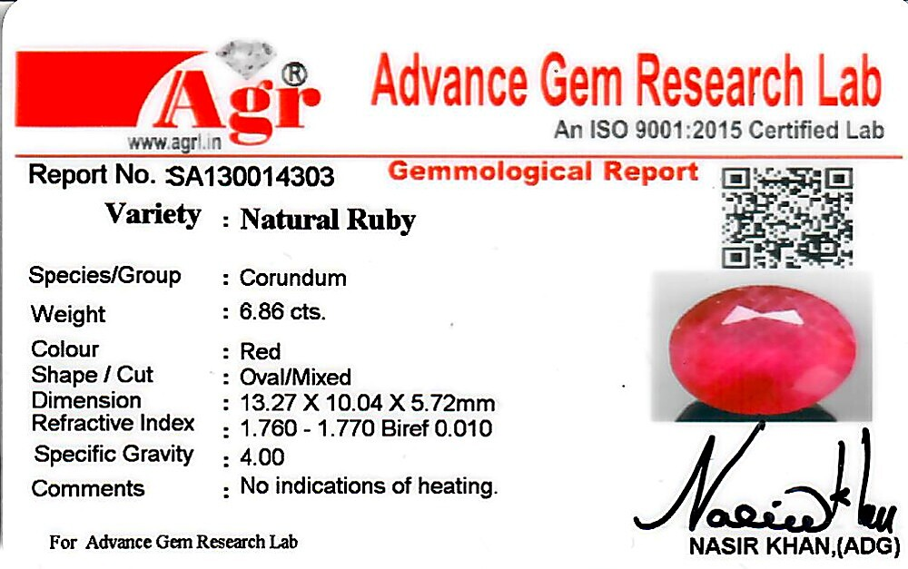 Ruby - 6.86 carats