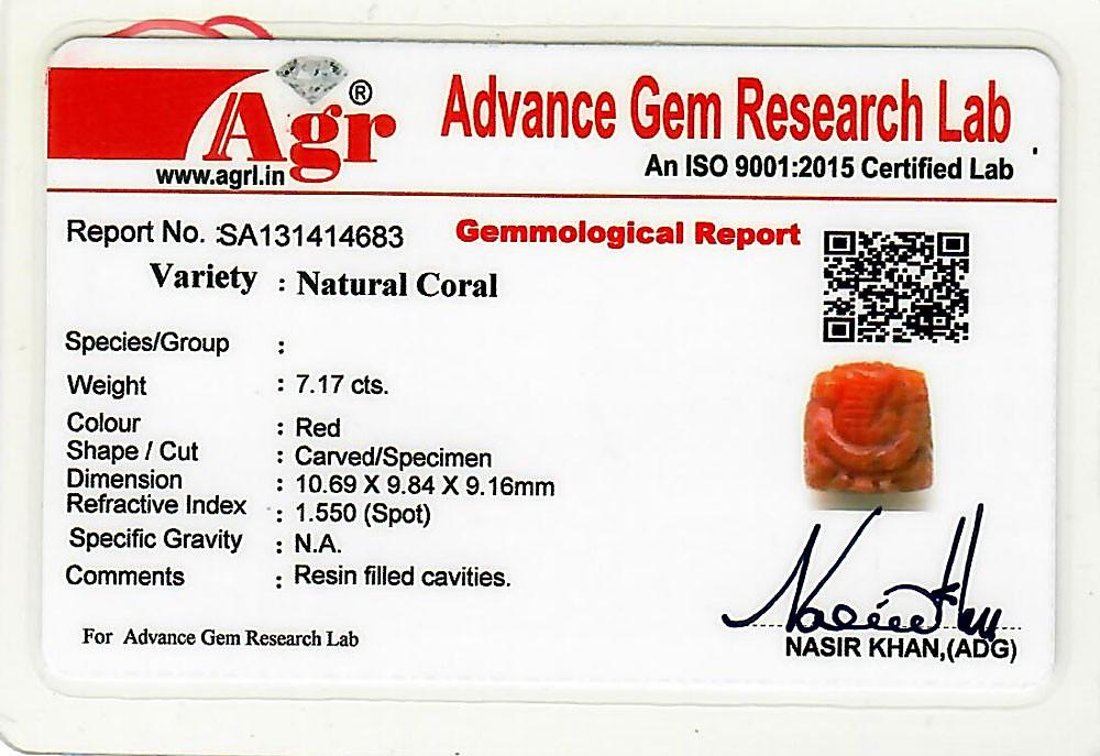 Red Coral Ganesha - 7.17 carats