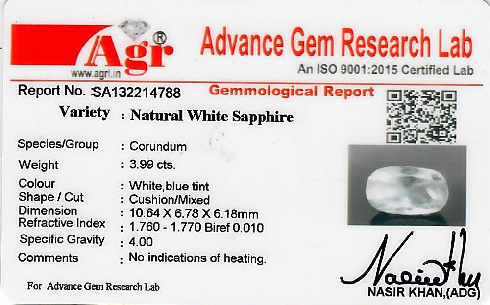 White Sapphire - 3.99 carats