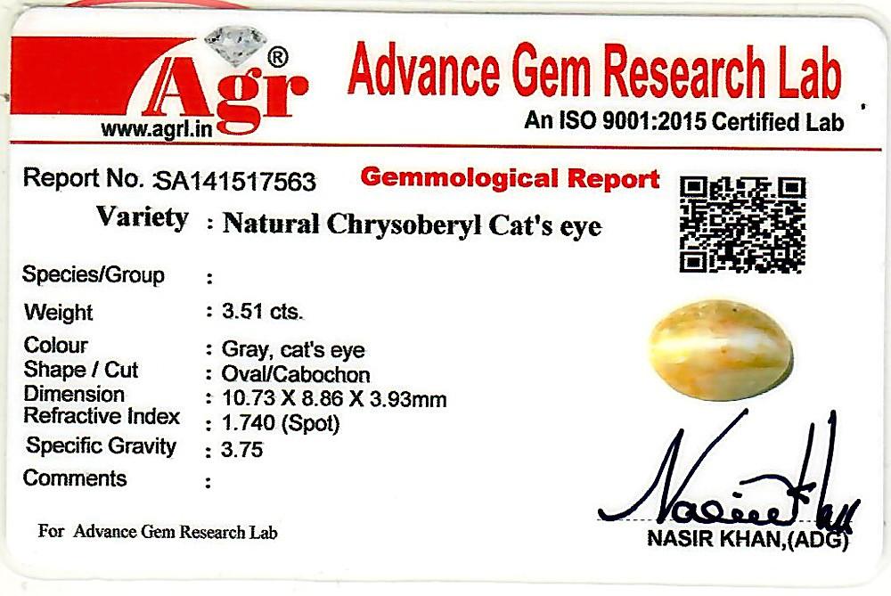 Chrysoberyl Cat's Eye - 3.51 carats