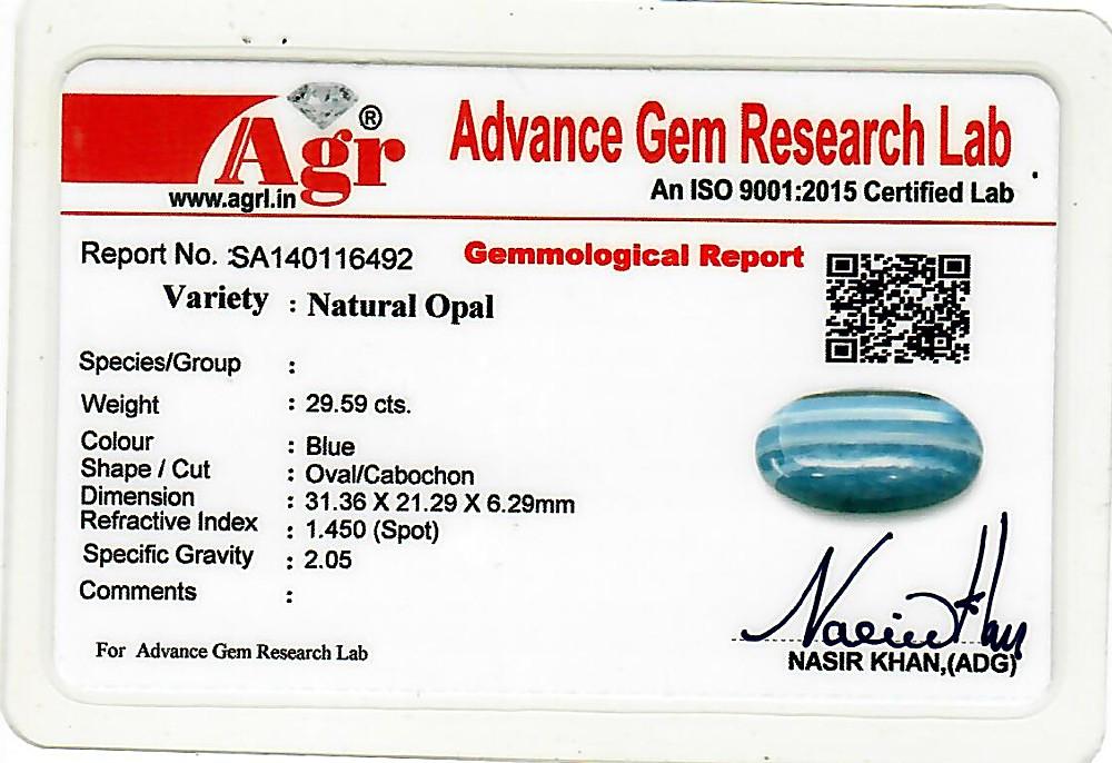 Blue Opal - 29.59 carats