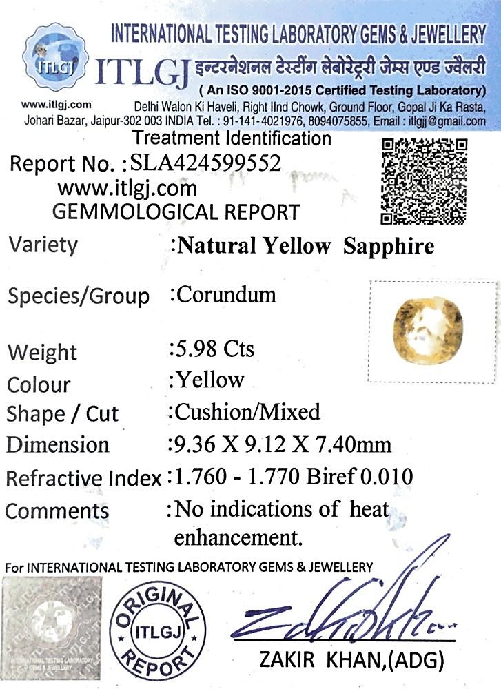 Yellow Sapphire - 5.98 carats