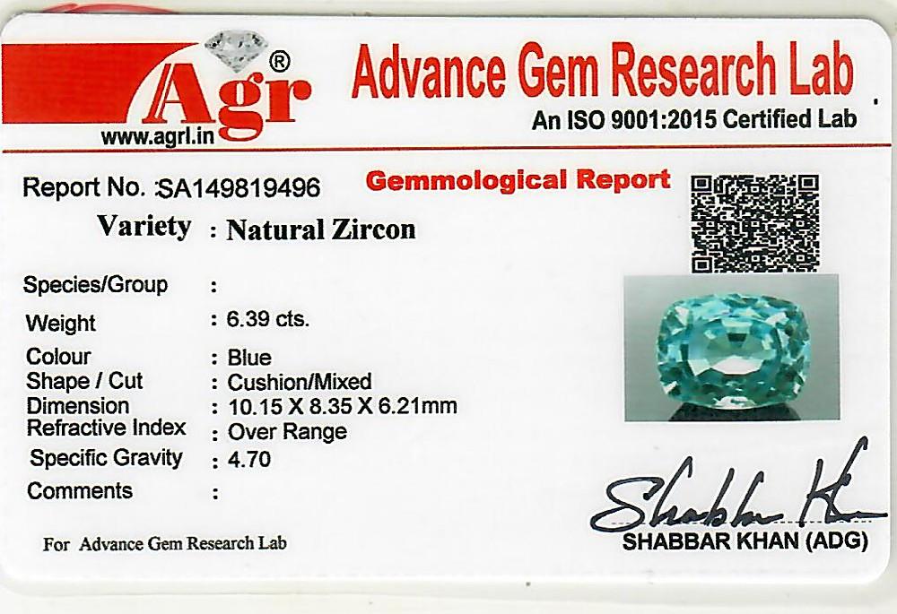 Blue Zircon - 6.39 carats