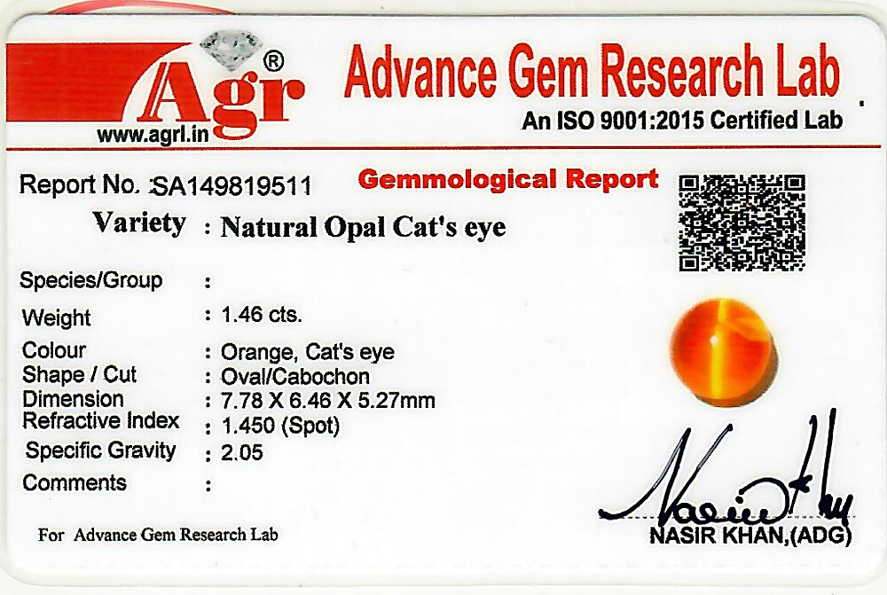 Opal Cat's Eye - 1.46 carats