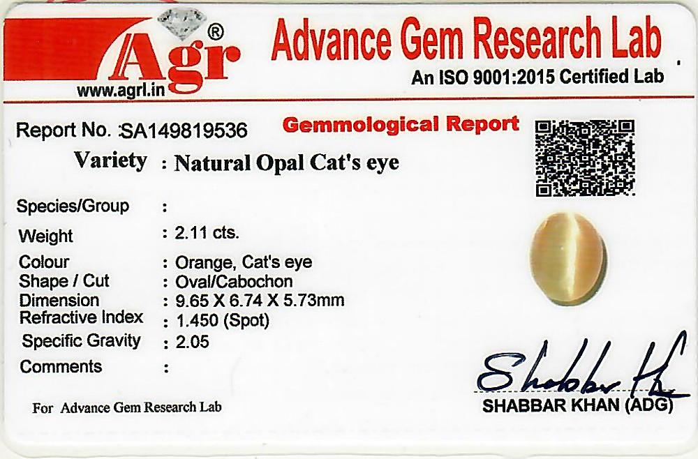 Opal Cat's Eye - 2.11 carats