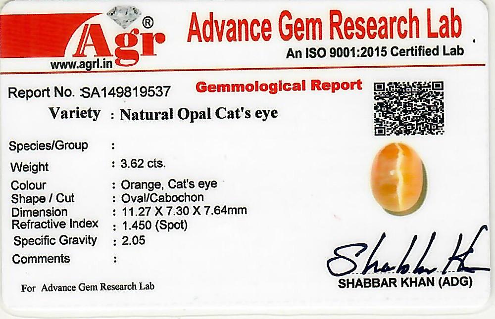 Opal Cat's Eye - 3.62 carats
