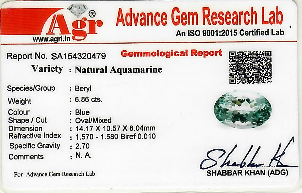 Aquamarine - 6.86 carats