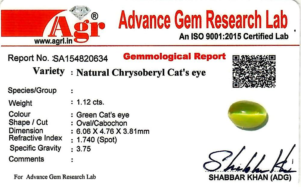 Chrysoberyl Cat's Eye - 1.12 carats