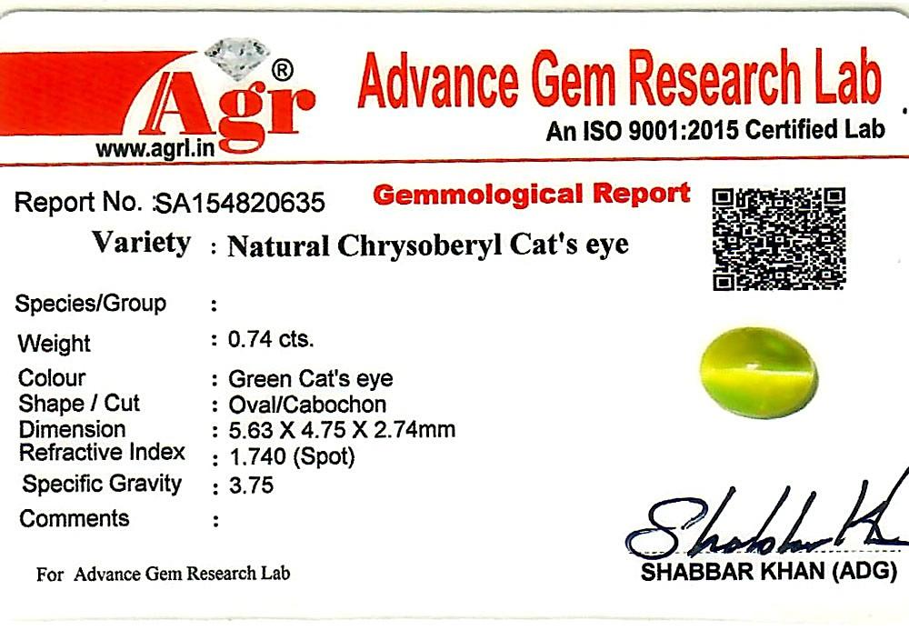 Chrysoberyl Cat's Eye - 0.74 carats