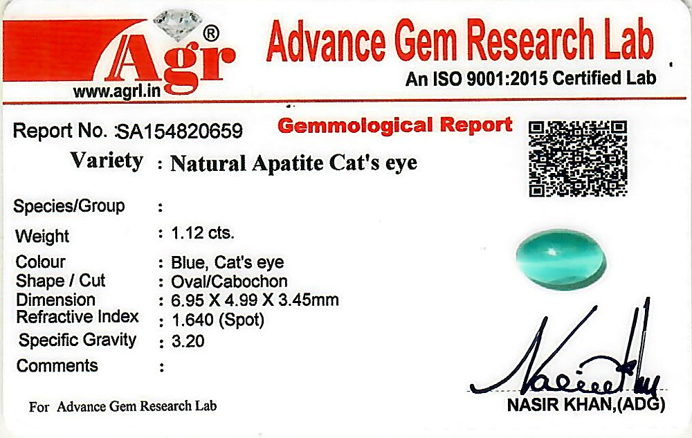 Apatite Cat's Eye - 1.12 carats