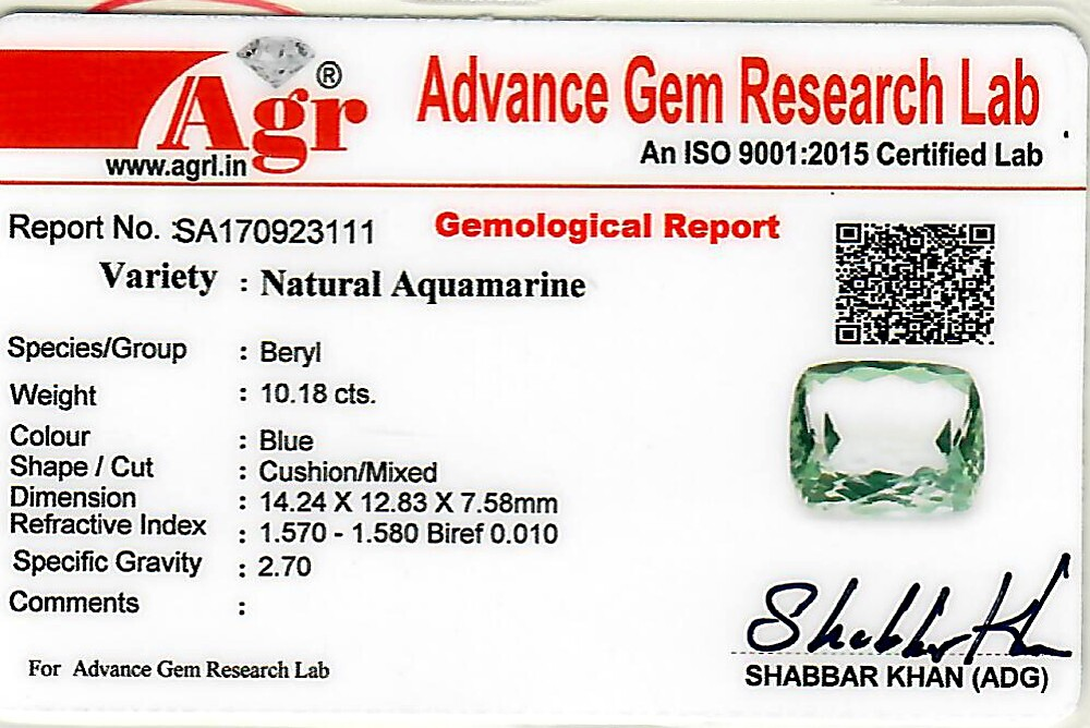 Aquamarine - 10.18 carats