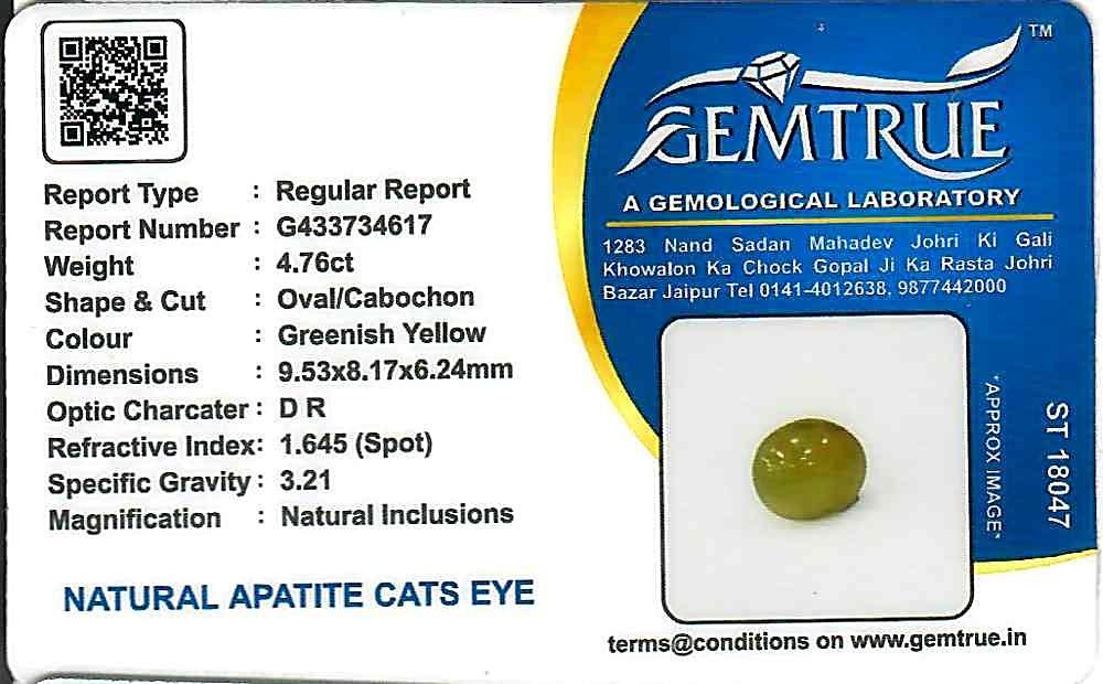 Apatite Cat's Eye - 4.76 carats