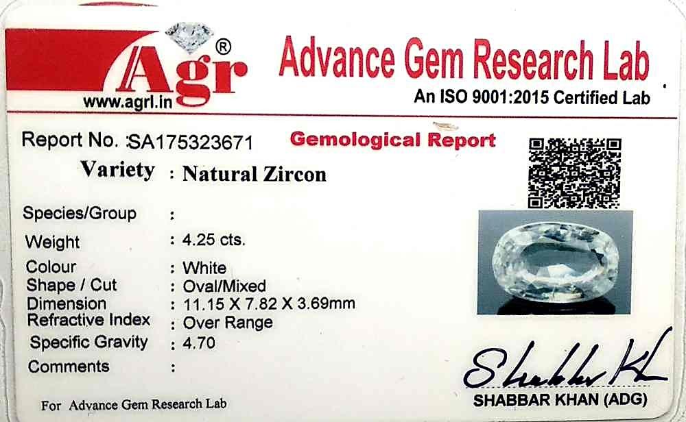 White Zircon - 4.25 carats