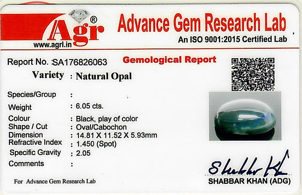Black Opal - 6.05 carats
