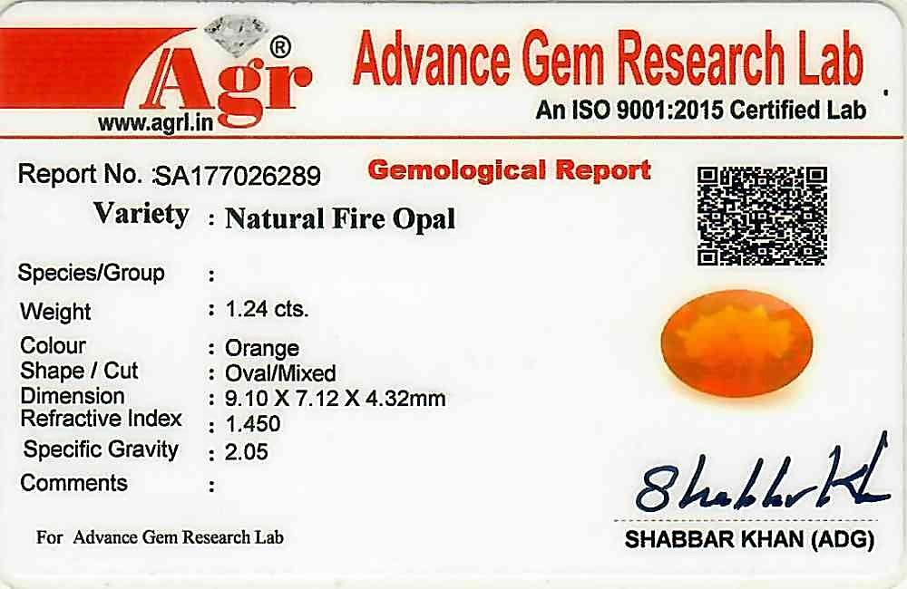Fire Opal - 1.24 carats