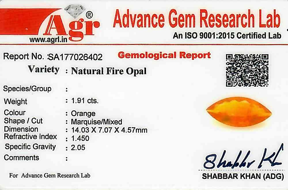 Fire Opal - 1.91 carats