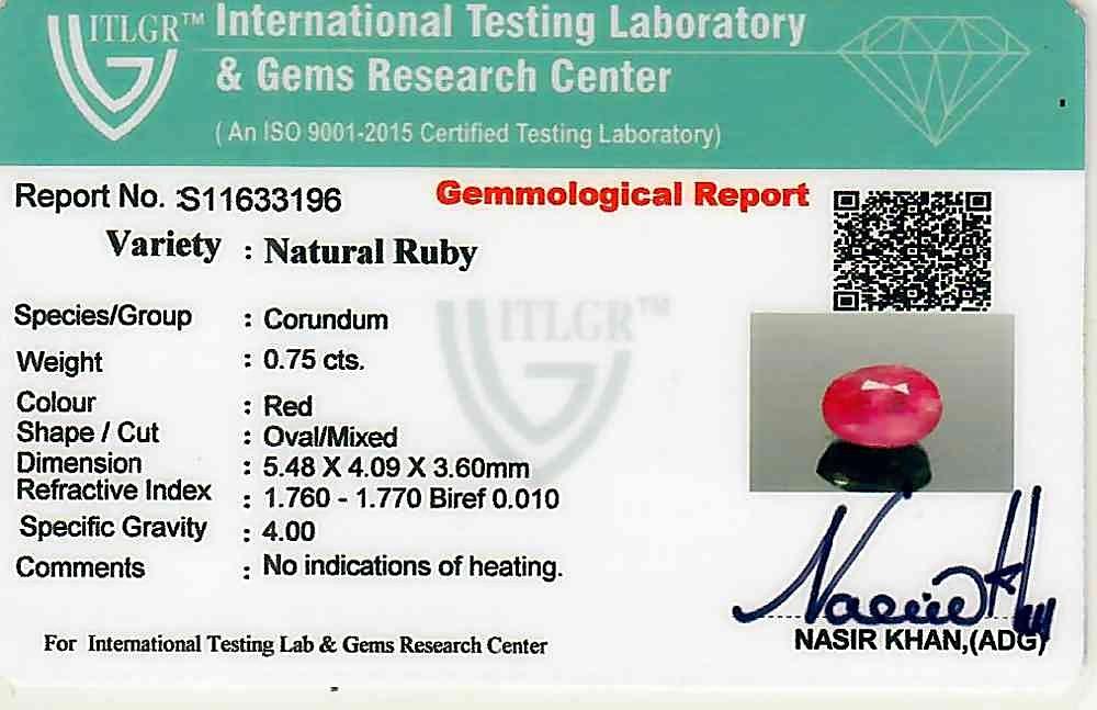 Ruby - 0.75 carats