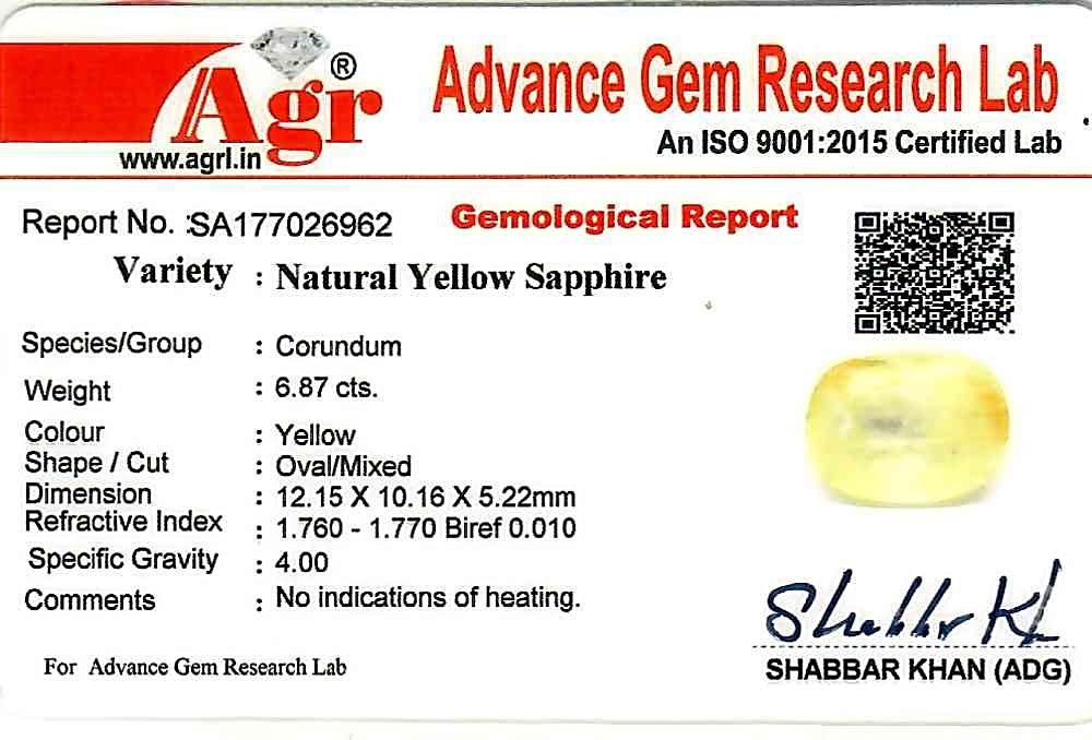 Yellow Sapphire - 6.87 carats
