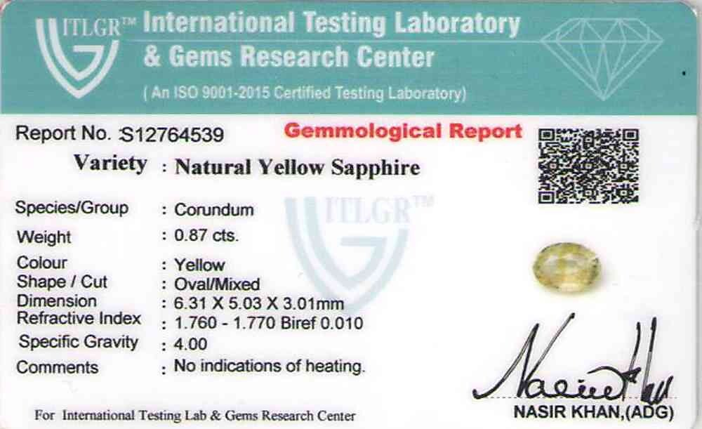 Yellow Sapphire - 0.87 carats