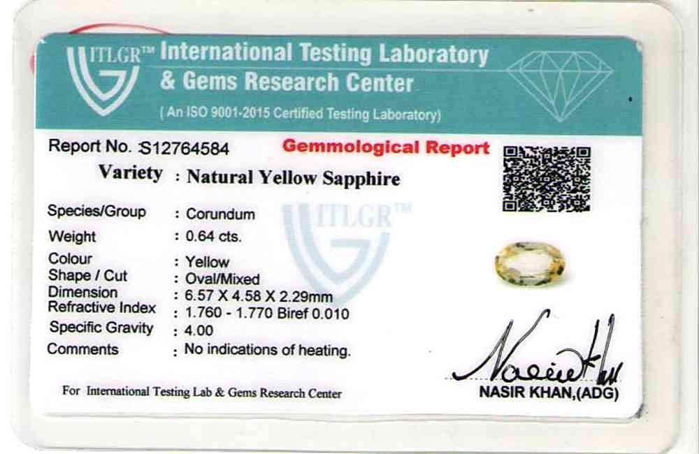 Yellow Sapphire - 0.64 carats