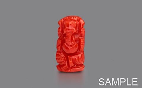 Red Coral Ganesha - Premium