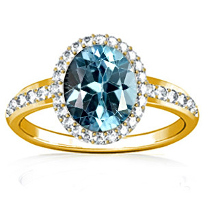 Blue Topaz Gold Ring (R1-Dazzle)