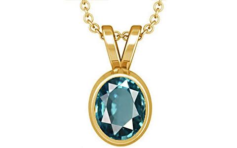 Blue Zircon Gold Pendant (D1)
