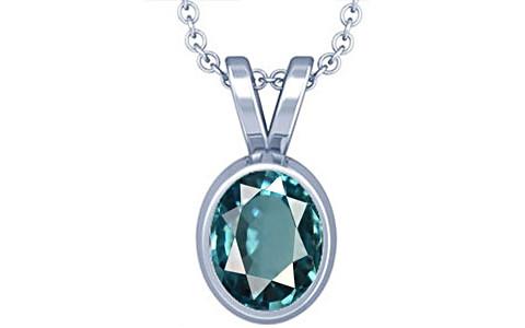 Blue Zircon Silver Pendant (D1)