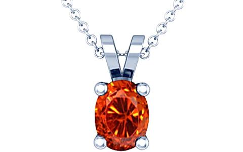 Orange Cubic Zirconia Silver Pendant (D2)