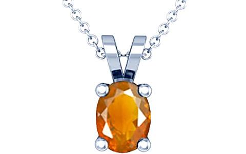 Fire Opal Sterling Silver Pendant (Design D2)