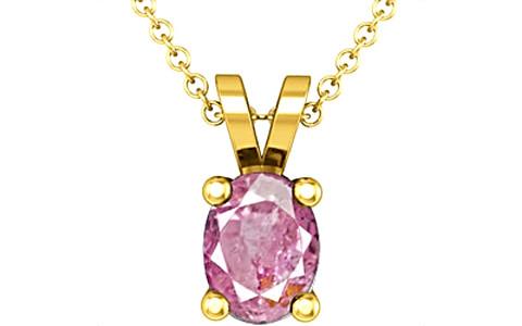 Pink Sapphire Gold Pendant (D2)