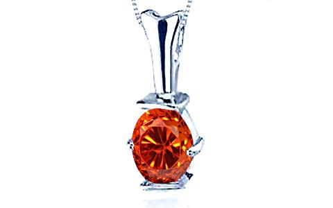 Orange Cubic Zirconia Silver Pendant (D3)
