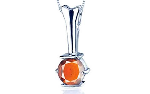 Hessonite Silver Pendant (D3)