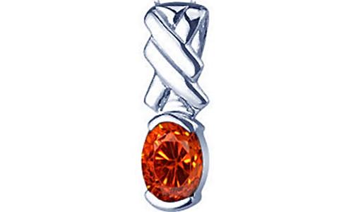 Orange Cubic Zirconia Silver Pendant (D5)