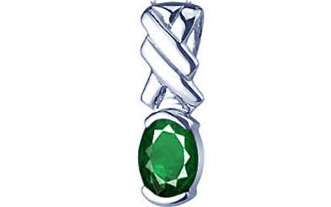 Emerald (Zambia) Silver Pendant (D5)