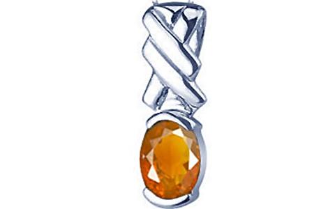 Fire Opal Sterling Silver Pendant (Design D5)