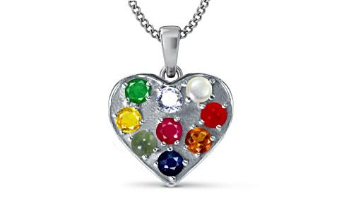 Heart Navratna Silver Pendant