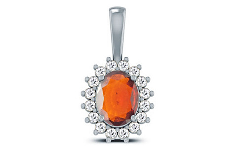 Hessonite Silver Pendant (D4 SPARKLE)