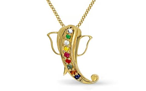 Navratna Ganesh Pendant in Gold