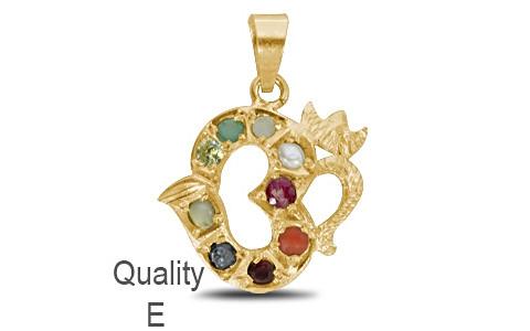 Om Navratna Gold Pendant