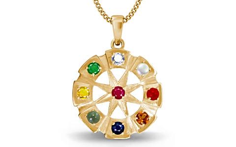 Round Navratna Gold Pendant