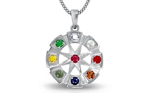 Round Navratna Silver Pendant