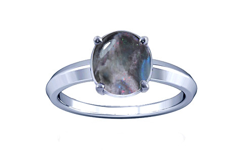 Black Opal Sterling Silver Ring (A1)