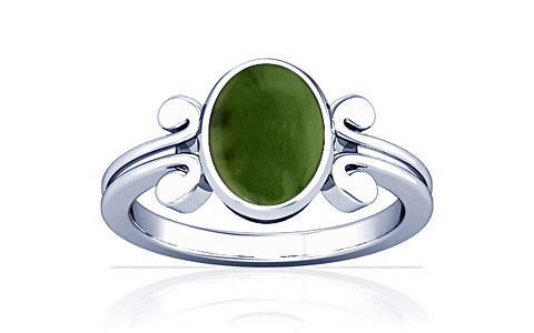 Nephrite Jade Silver Ring (A10)