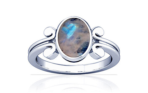 Rainbow Moonstone Silver Ring (A10)
