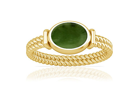 Nephrite Jade Gold Ring (A11)