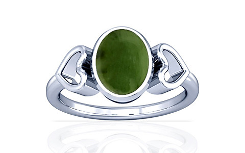 Nephrite Jade Silver Ring (A12)