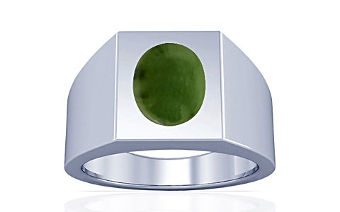 Nephrite Jade Silver Ring (A13)