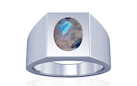 Rainbow Moonstone Silver Ring (A13)