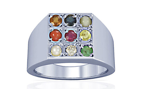 Navratna Sterling Silver Ring (A13)